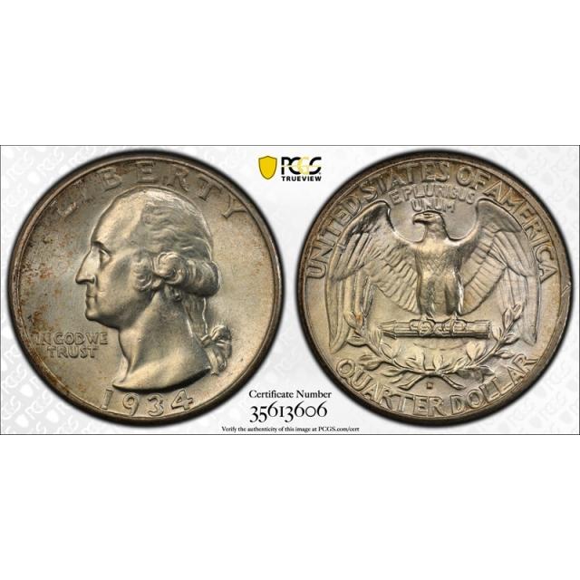 1934 D 25C Heavy Motto Washington Quarter PCGS MS 63 Uncirculated Denver Mint