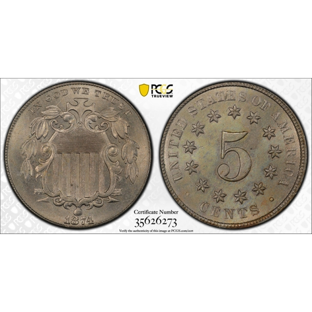 1874 5C Shield Nickel PCGS MS 65 Uncirculated Mint State CAC Approved High End Nice!