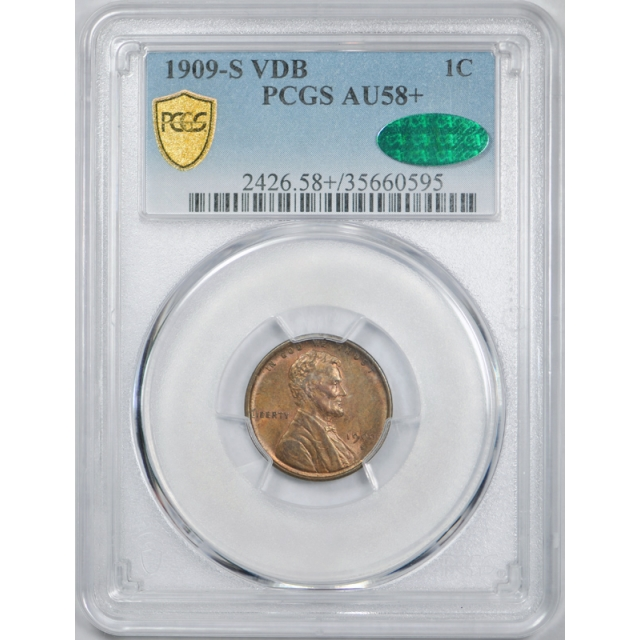 1909 S VDB 1C Lincoln Wheat Cent PCGS AU 58+ CAC Approved Plus Grade !