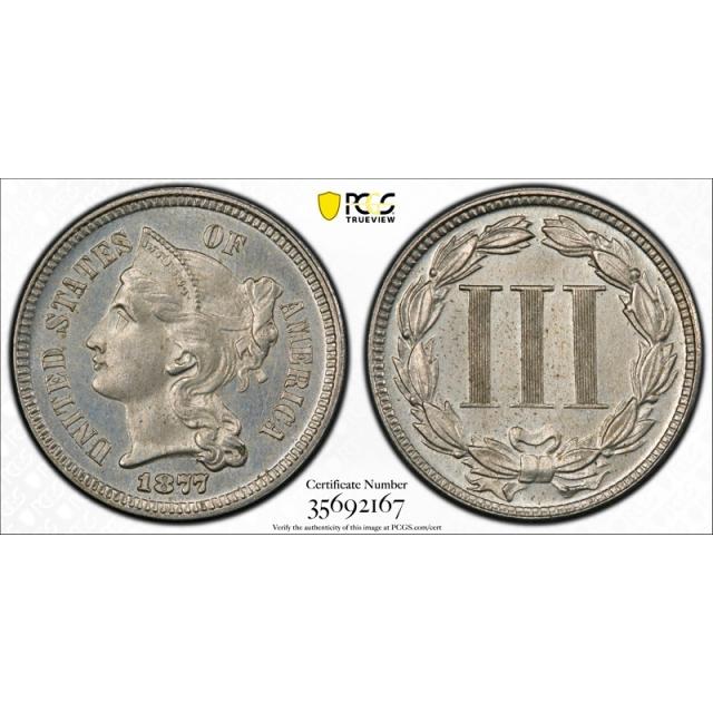 1877 3CN Three Cent Nickel PCGS PR 64 Proof Key Date CAC Approved Original Cert#2167