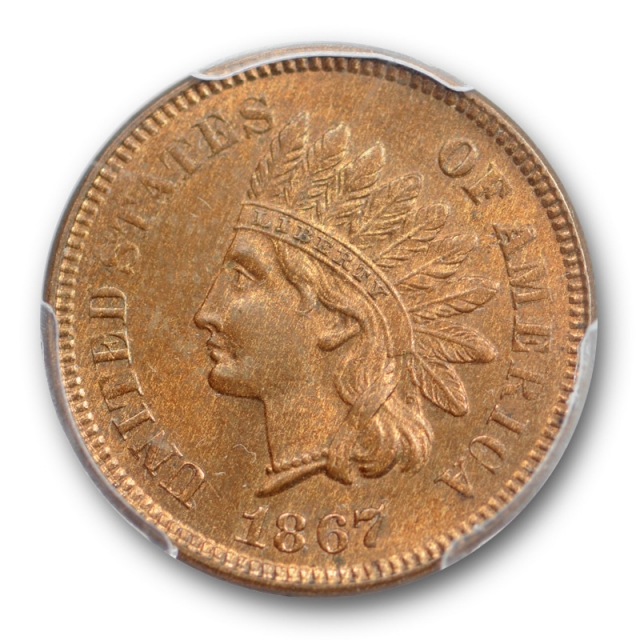 1867 1C Indian Head Cent PCGS MS 64 RB Uncirculated Red Brown CAC Approved !