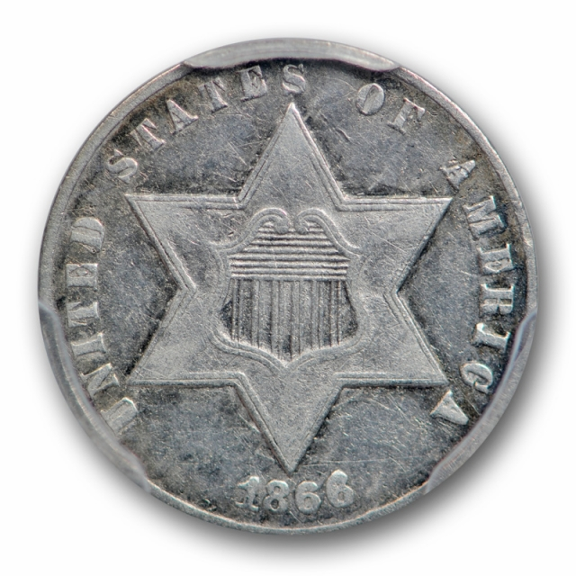 1866 3CS Three Cent Silver PCGS VF 35 Very Fine to Extra Fine Key Date
