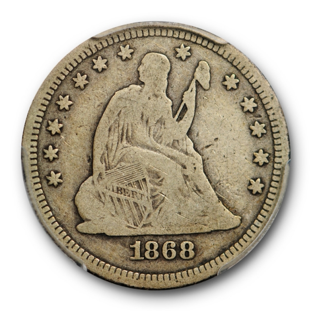 1868 25C Seated Liberty Quarter PCGS VG 8 Very Good Key Date Low Mintage