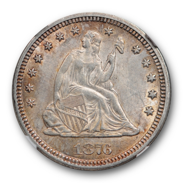 1876 25c Seated Liberty Quarter NGC MS 61 Uncirculated Toned Pretty !