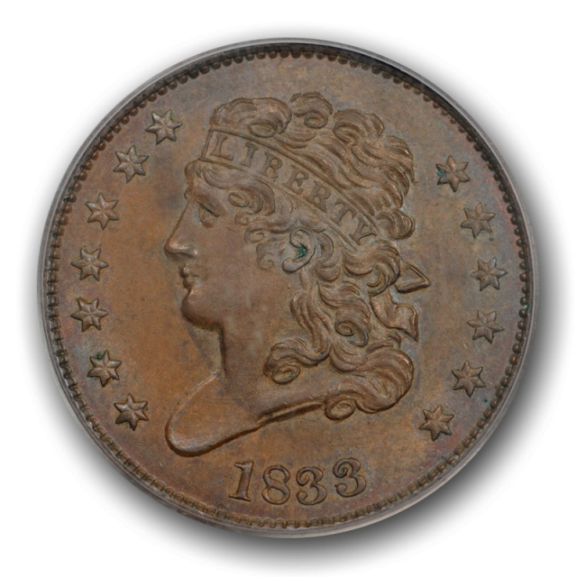 1833 1/2C Classic Head Half Cent PCGS MS 64 BN Uncirculated CAC Approved Nice !