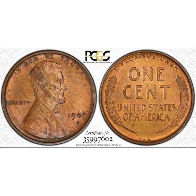 1909 S VDB 1C Lincoln Wheat Cent PCGS MS 63 RB Uncirculated Red Brown