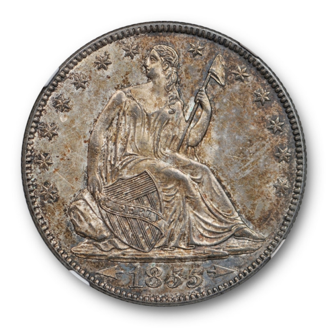 1855 O 50c Arrows Seated Liberty Half Dollar NGC MS 64 Uncirculated CAC Approved !