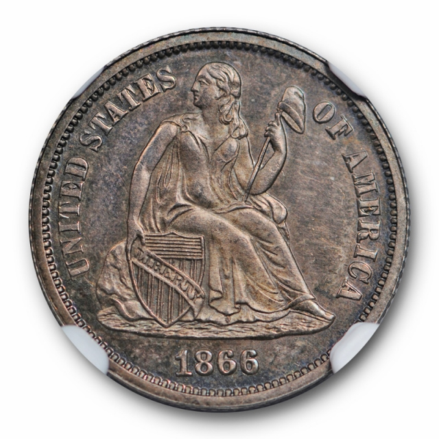 1866 10c Seated Liberty Dime NGC PR 65 Proof Key Date Toned Low Mintage Cert#4006