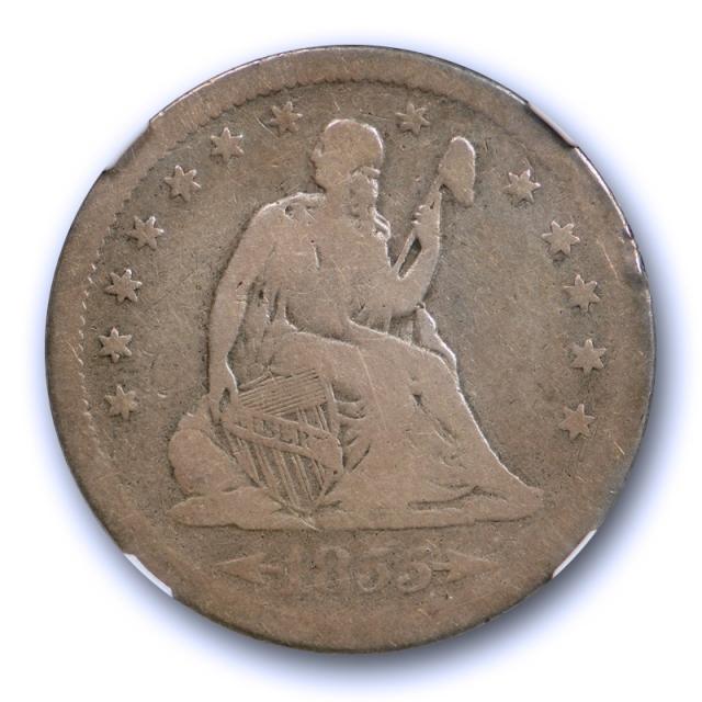 1855 S 25c Seated Liberty Quarter NGC G 6 Good to Very Good Key Date Tough !