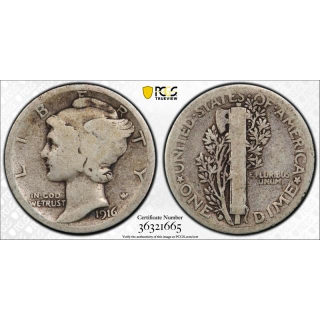 1916 D 10C Mercury Dime PCGS G 4 Good Denver Mint Key Date CAC Approved Cert#1665