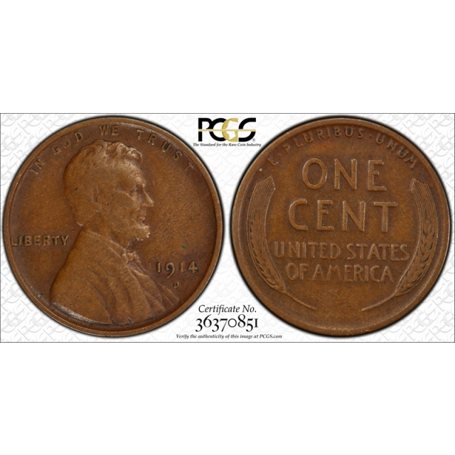 1914 D 1C Lincoln Wheat Cent PCGS VF 30 Very Fine to Extra Fine Denver Key Date