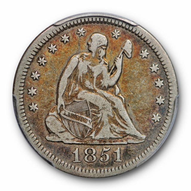 1851 25C Seated Liberty Quarter PCGS VF 20 Very Fine CAC Approved Toned