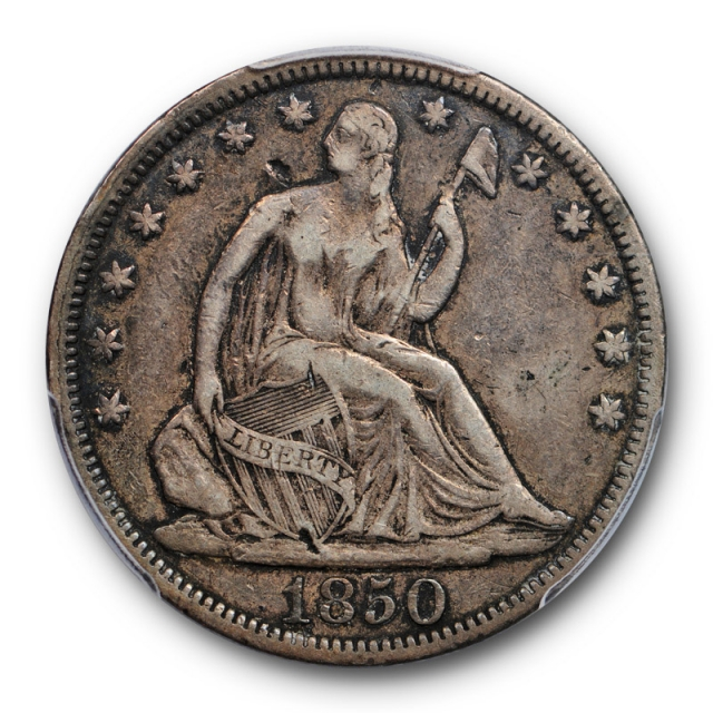 1850 50C Seated Liberty Half Dollar PCGS VF 20 Very Fine Key Date Cert#1343