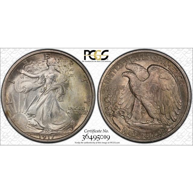 1917 50C Walking Liberty Half Dollar PCGS MS 65 Uncirculated Original ! Cert#5019