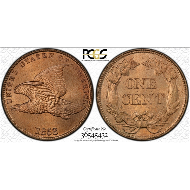 1858 1C Small Letters Flying Eagle Cent PCGS MS 64 Exceptional U.S Type Coin !
