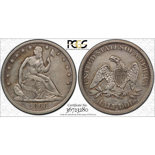 1866 S 50C No Motto Seated Liberty Half Dollar PCGS VF 30 Very Fine to Extra Fine