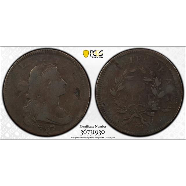 1797 1C Draped Bust Large Cent PCGS VG 8 Double Struck Rotated in Collar