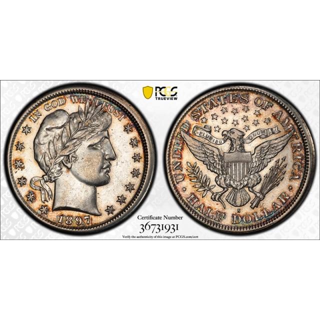 1897 S 50C Barber Half Dollar PCGS AU 53 About Uncirculated Broadstruck Mint Error