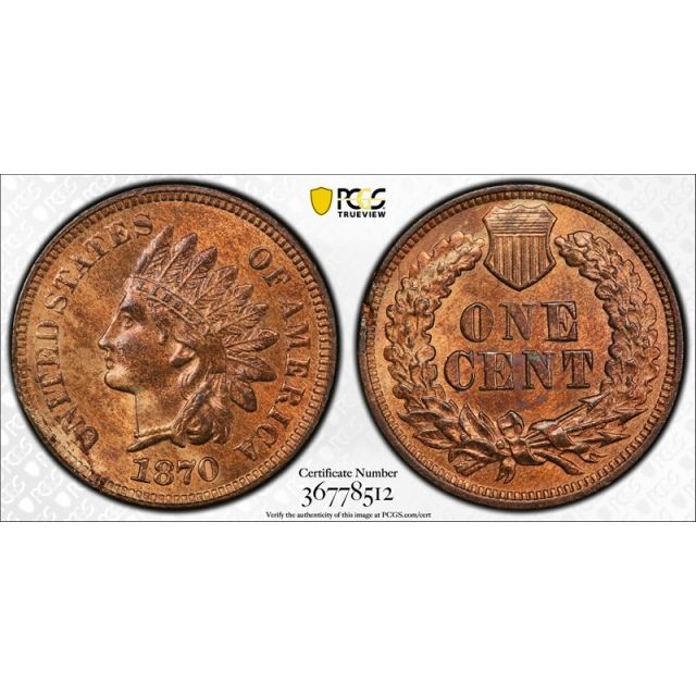1870 1C Indian Head Cent PCGS MS 64 RB Uncirculated Red Brown Key Date Tough !