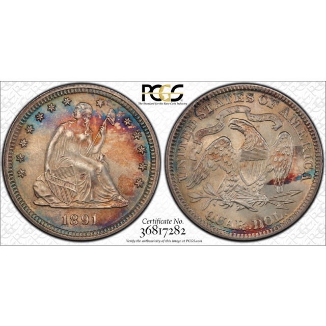 1891 25C Seated Liberty Quarter PCGS MS 65 Uncirculated Pretty Toned !