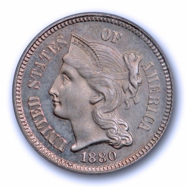 1880 3CN Proof Three Cent Nickel PCGS PR 65 Key Date Low Mintage Lightly Toned Nice !