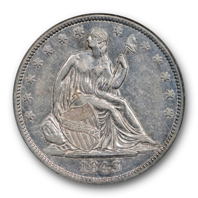 1843 50c Seated Liberty Half Dollar NGC AU 55 About Uncirculated to Mint State