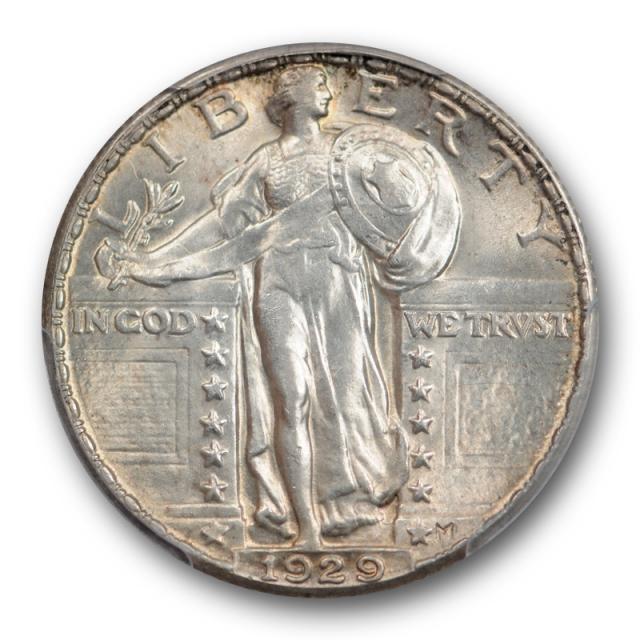 1929 25C Standing Liberty Quarter PCGS MS 63 Uncirculated Lightly Toned Original !