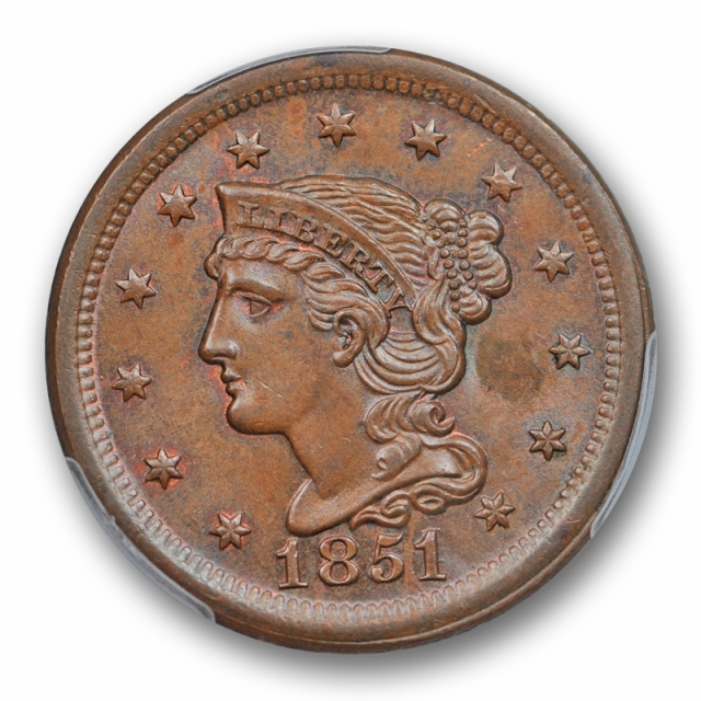 1851/81 1C Newcomb 3 Braided Hair Cent PCGS MS 64 BN Brown Uncirculated Sharp !