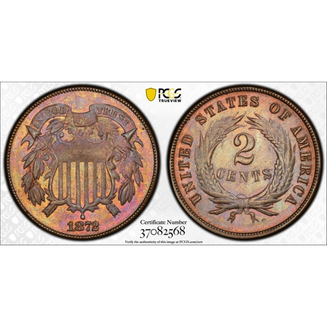 1872 2C Two Cent Piece PCGS MS 62 BN Uncirculated CAC Approved Key Date