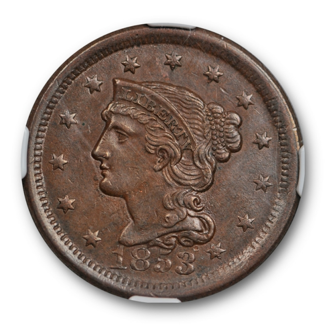 1853 1c Braided Hair Large Cent NGC MS 61 BN Uncirculated Brown US Type Coin