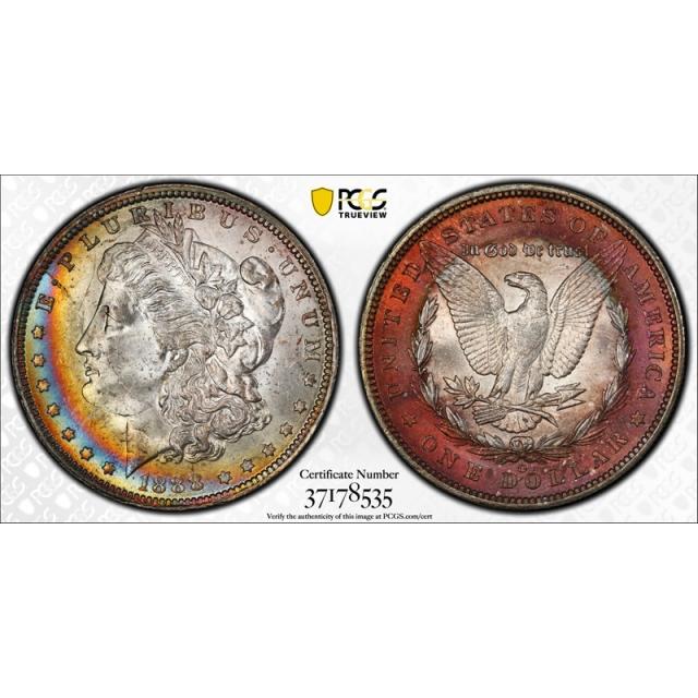 1888 O $1 VAM 1B Morgan Dollar PCGS MS 63 Scarface Top 100 VAM 1 B Toned !
