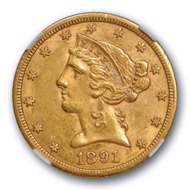 1891 CC $5 Liberty Head Half Eagle NGC AU 58 CAC Approved Carson City Cert#4007