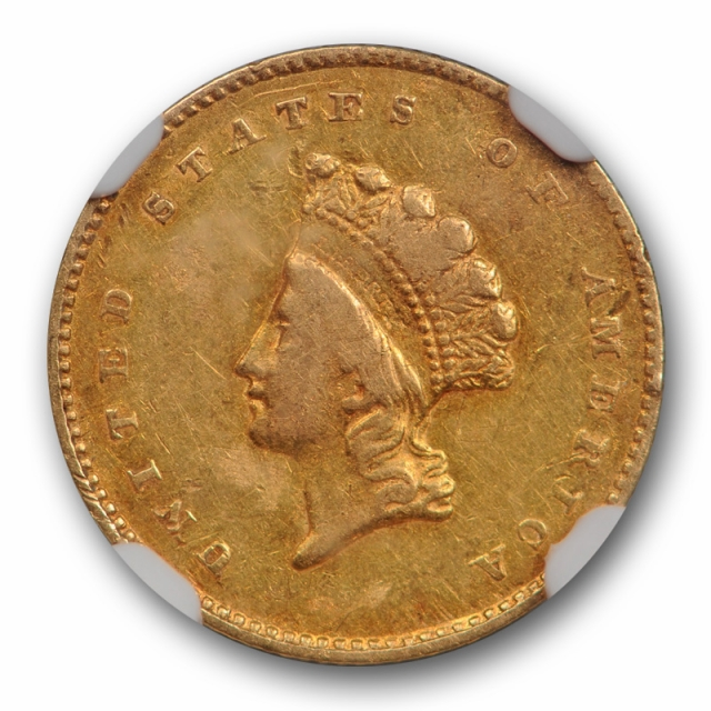 1855 G$1 Gold Dollar NGC AU 50 About Uncirculated Type Two TY 2 US Type