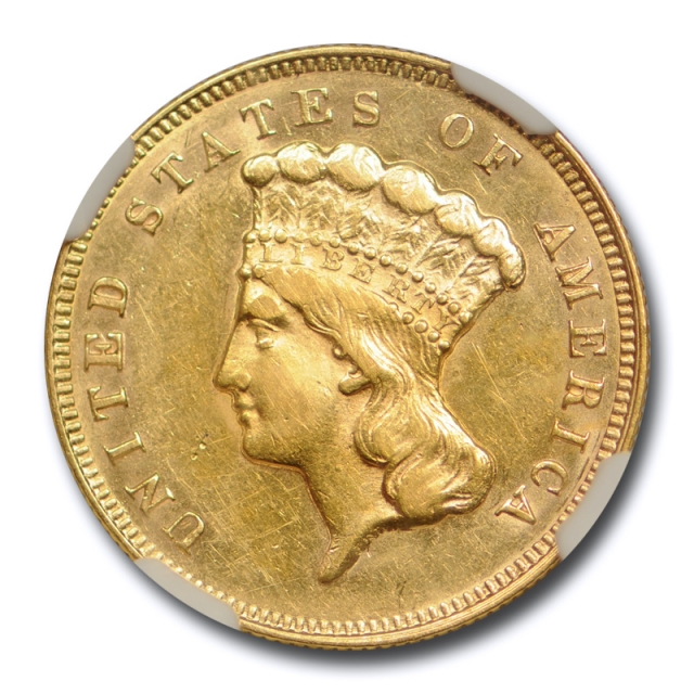 1874 $3 Three Dollar Gold Princess Head NGC AU 55 About Uncirculated Cert#6012