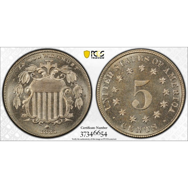 1881 5C Shield Nickel PCGS PR 66 Proof Key Date CAC Approved Beautiful !