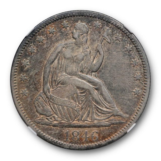1846 50c Tall Date Seated Liberty Half Dollar NGC XF 45 Extra Fine to AU Toned TD