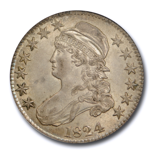 1824 50c Capped Bust Half Dollar NGC AU 58 O 117 About Uncirculated CAC !