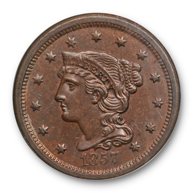 1857 1C Small Date Braided Hair Large Cent NGC MS 63 BN Uncirculated Tough Key Date
