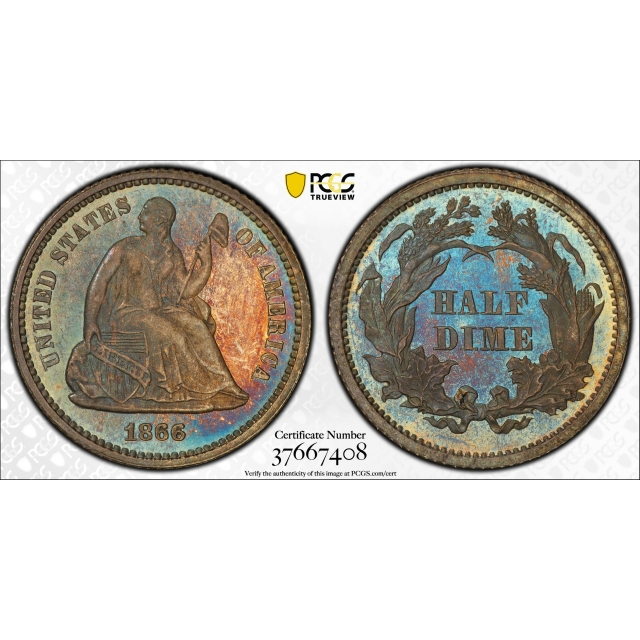 1866 Seated Liberty Half Dime PCGS PR 65 Proof Key Date Colorful Toned Beauty !