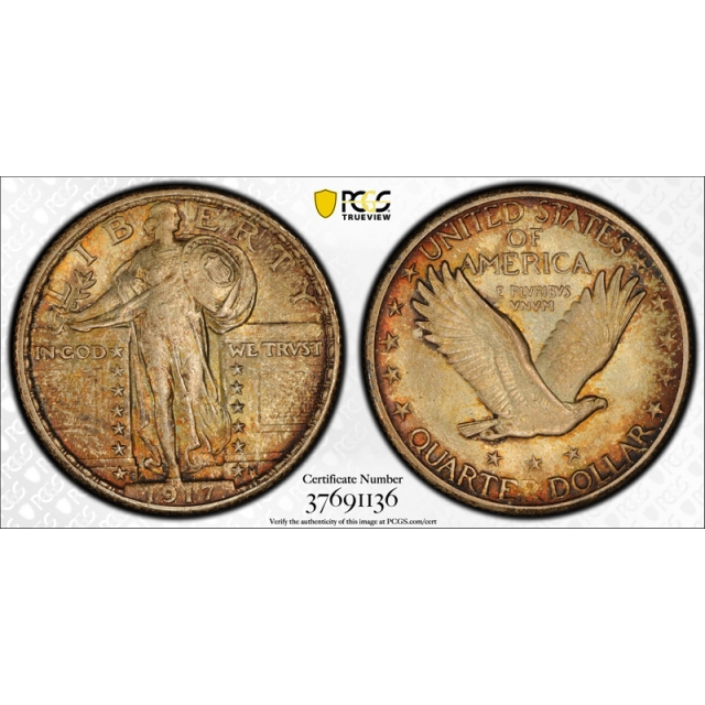 1917 S 25C Type 2 Standing Liberty Quarter PCGS MS 65 Uncirculated Toned Beauty !