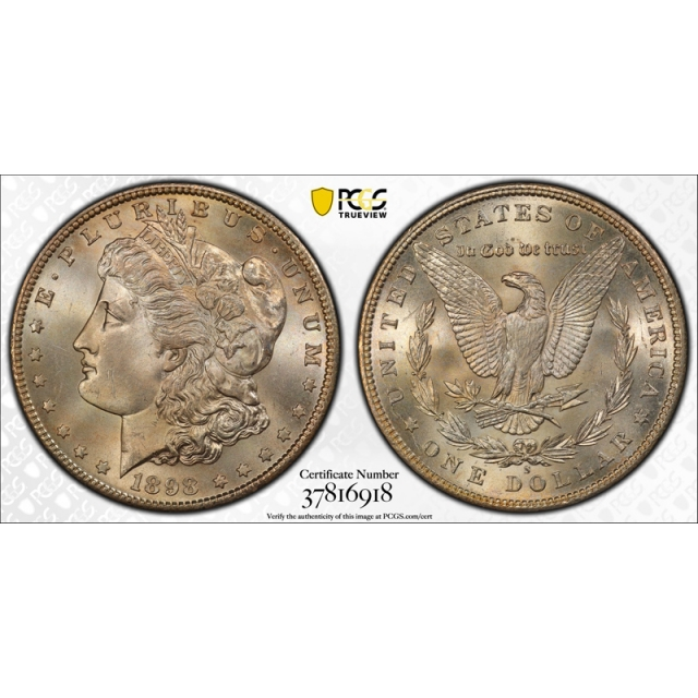 1898 S $1 Morgan Dollar PCGS MS 66 Uncirculated Pretty Toned Better Date !