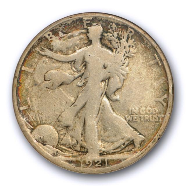 1921 D 50C Walking Liberty Half Dollar ANACS VG 8 Very Good Key Date Cert#8861