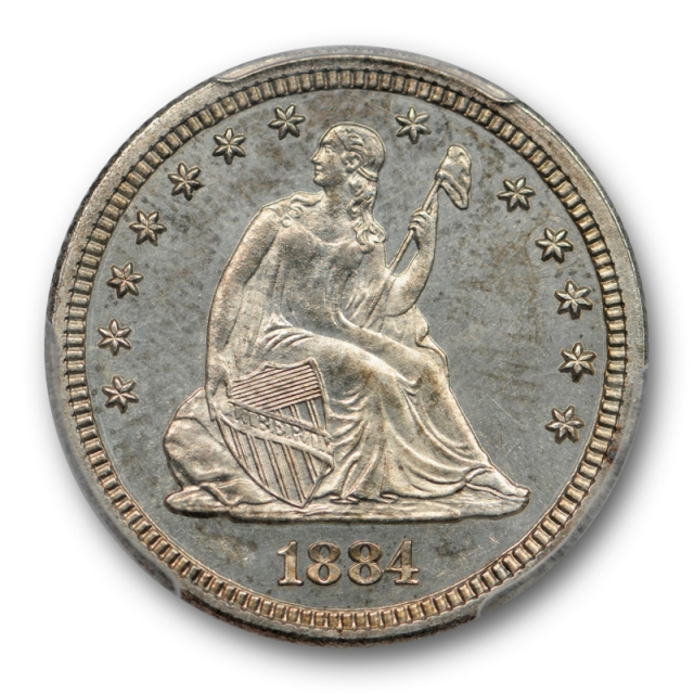 1884 25C Seated Liberty Quarter PCGS PR 64 Proof Key Date Nice !