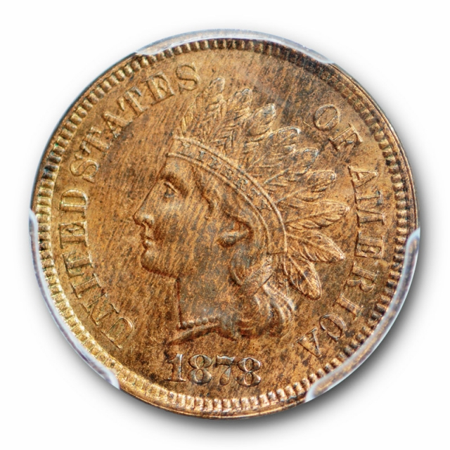 1878 1C Indian Head Cent PCGS MS 64 RB Uncirculated Red Brown Better Date
