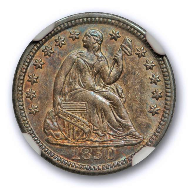 1850 Seated Half Dime NGC MS 64 Uncirculated Attractively Toned Beauty !