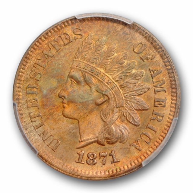 1871 1C Indian Head Cent PCGS MS 63 RB Uncirculated Red Brown Better Date