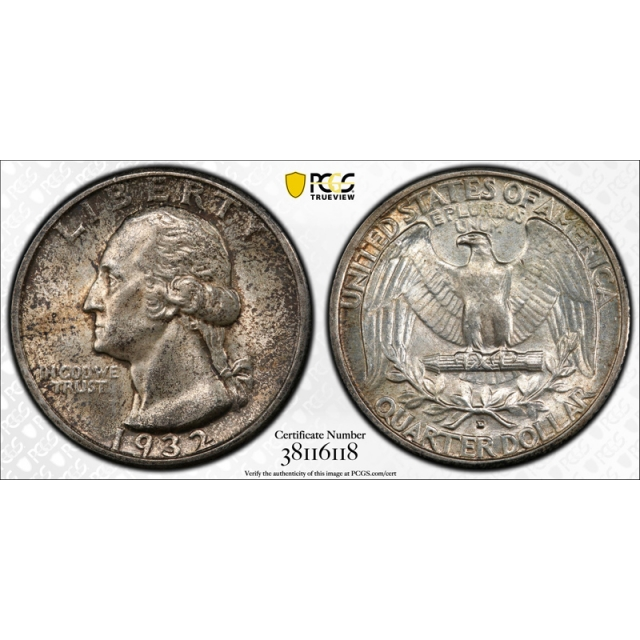 1932 D 25C Washington Quarter PCGS MS 62 Uncirculated Key Date Toned