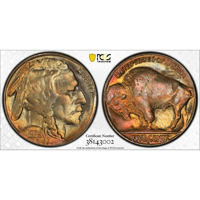 1925 S 5C Buffalo Nickel PCGS MS 64+ Uncirculated Toned Beauty Stunning !