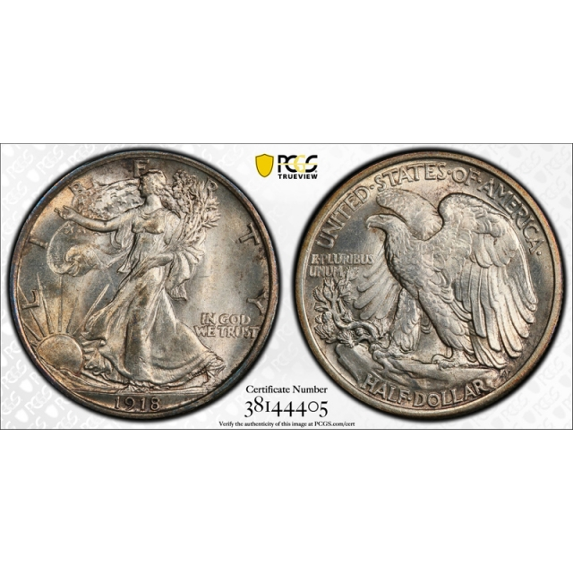 1918 50C Walking Liberty Half Dollar PCGS MS 64 Uncirculated Exceptional Coin Attractive !