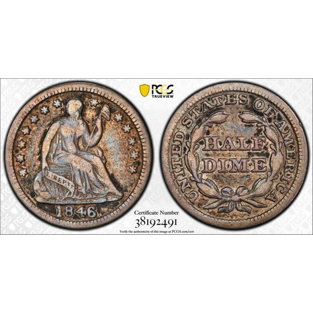 1846 H10C Seated Liberty Half Dime PCGS F 15 Fine to Very Fine CAC Approved